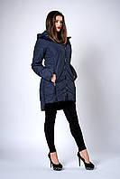 Женская удлиненная демисезонная куртка. Код модели К-134-37-18. Цвет синий.