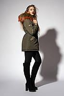 Женская молодежная зимняя парка. Код модели К-104.2-59-18. Цвет хаки с мехом хаки..