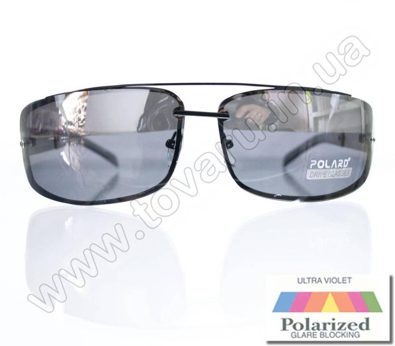 Оптом Очки мужские солнцезащитные поляризационные - Антифара - Черные (черное стекло) - PA1068, фото 2