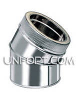 Отвод утепленный (колено) 45° нерж/оцинк AISI 304