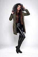 Зимняя женская молодежная куртка. Код К-132-36-19. Цвет хаки.