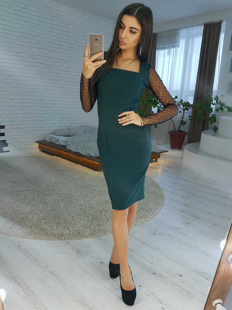 18f7af715ea Темно-зеленое платье футляр с рукавами из сетки добби VL4354 S. Размер 42.