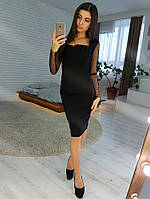 6865a7aacbf Черное платье футляр с рукавами из сетки добби VL4356 S. Размер 42.
