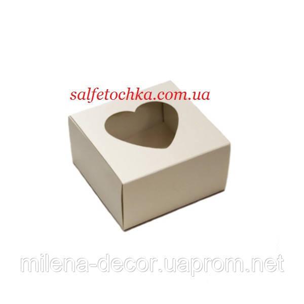 """Картонная коробка """"Премиум"""" белая  9*9*5 см. ( окно сердечко)"""