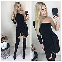 Стильное красивое платье на одно плече юбкой на запах и поясом чёрное 42-44 44-46, фото 1