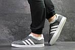 Мужские кроссовки Adidas Gazelle (Серо-белые), фото 4