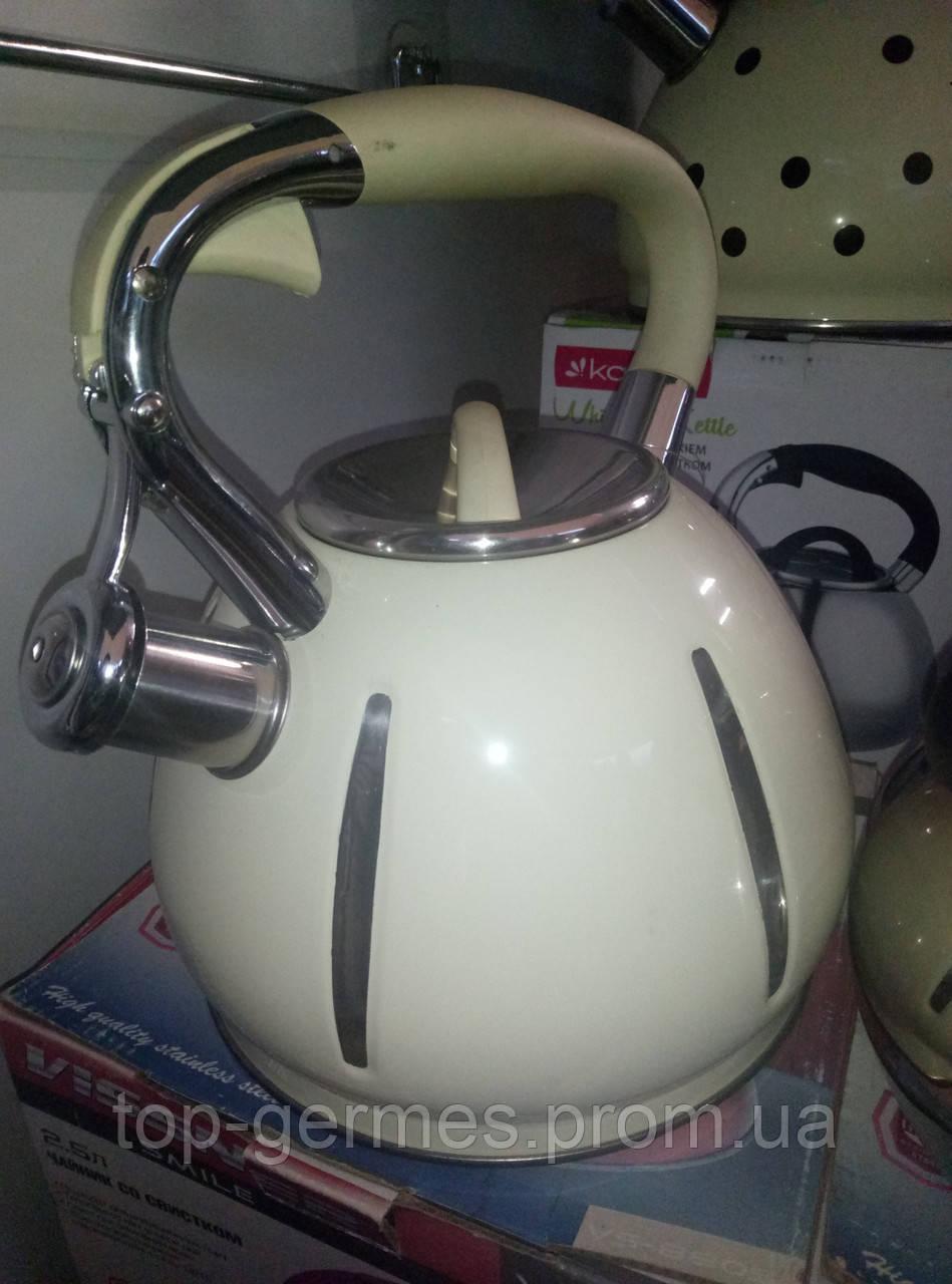 Эмалированный чайник со свистком на 2.5л