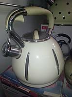Эмалированный чайник со свистком на 2.5л, фото 1