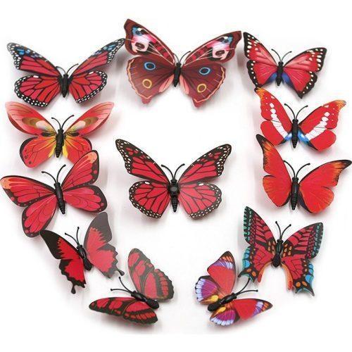 (12 шт) Набор бабочек 3D на магните, КРАСНЫЕ цветные