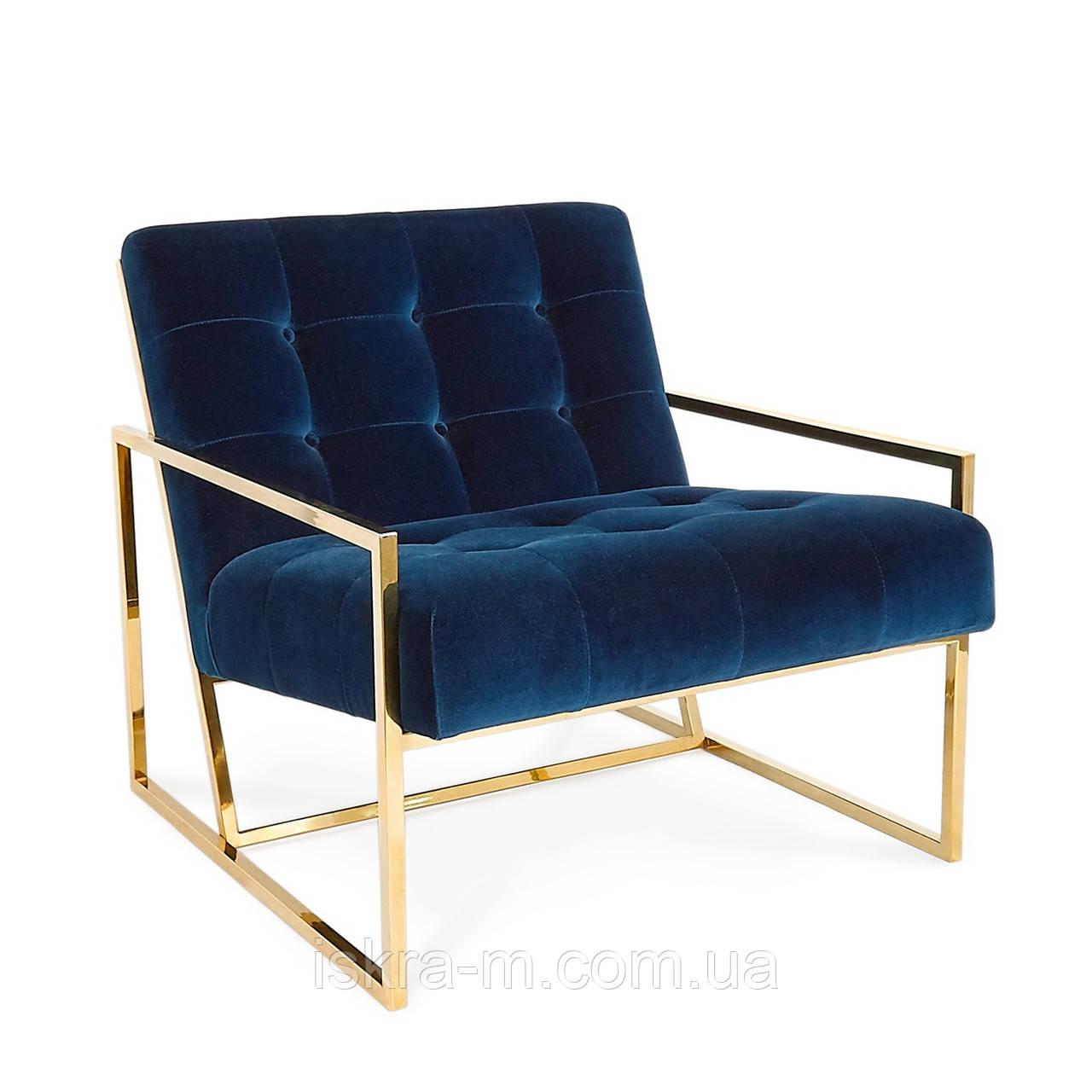 Кресло синее мягкое лофт
