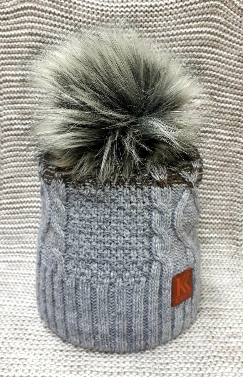 Шапка на мальчика подростковая зима серого цвета (Украина) размер 54 56 58
