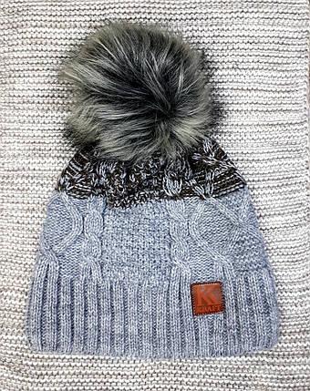 Шапка на мальчика подростковая зима серого цвета (Украина) размер 54 56 58, фото 2