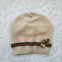 Демисезонная шапка бини для девочки в стиле Gucci, фото 1