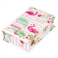 "Шкатулка для хранения украшений с кармашком, ""Фламинго тропик"", 19,5Х13Х5,5см."