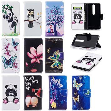 NOKIA 6.1 2018 чехол книжка оригинальный противоударный с карманами принтом рисунком кошелёк на телефон SEMANA