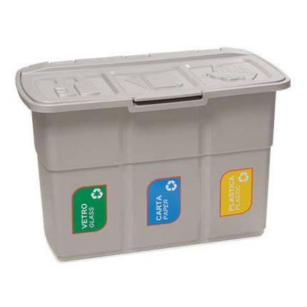 Бак для сортировки мусора 75 л Ecopat Deahome теплый серый, фото 2
