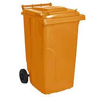 Бак для мусора на колесах с ручкой 120 л оранжевый