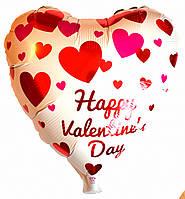 """Шар фольгированный сердце """"Happy Valentine's Day"""". Размер: 43см*48см."""