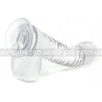 Фаллоимитатор на присоске с мошонкой прозрачный гибкий Crystal Love, фото 2