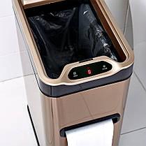 Сенсорное мусорное ведро JAH 7 л прямоугольное белое с внутренним ведром, фото 2