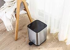 Ведро для мусора с педалью Nordic Style JAH 5 л квадратное металлик с внутренним ведром, фото 3