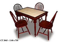 Стол обеденный нераскладной с керамической плиткой СТ3045 цвет махонь  + темная плитка, Малайзия