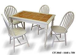 Стол обеденный нераскладной с керамической плиткой  СТ3045 цвет беленый дуб + плитка беж