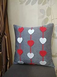 Наволочка з сердечками для декоративної подушки 35*35