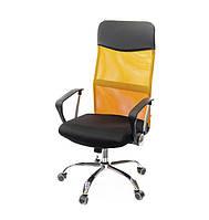 Кресло офисное на колесиках Гилмор СН TILT оранжевого цвета из ткани