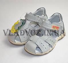 Кожаные сандалии босоножки Da Корона серые 21р
