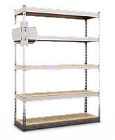 180х180х70, Стеллаж 4 полки ДСП/МДФ 400 кг на полку полочный оцинкованный металлический на склад гараж подвал, фото 3