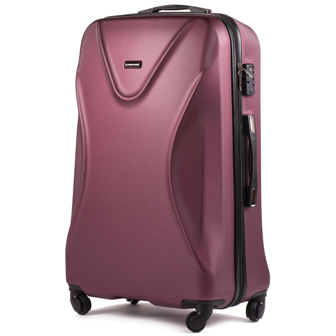 Большой пластиковый чемодан Wings 518 на 4 колесах бордовый