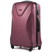 Большой пластиковый чемодан Wings 518 на 4 колесах бордовый, фото 1