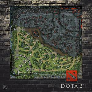 Постер Dota 2, Дота 2, карта из Доты. Размер 60x60см (A1). Глянцевая бумага