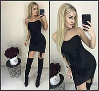 Эксклюзивное стильное короткое платье с бахромой чёрное 42-44 44-46, фото 1
