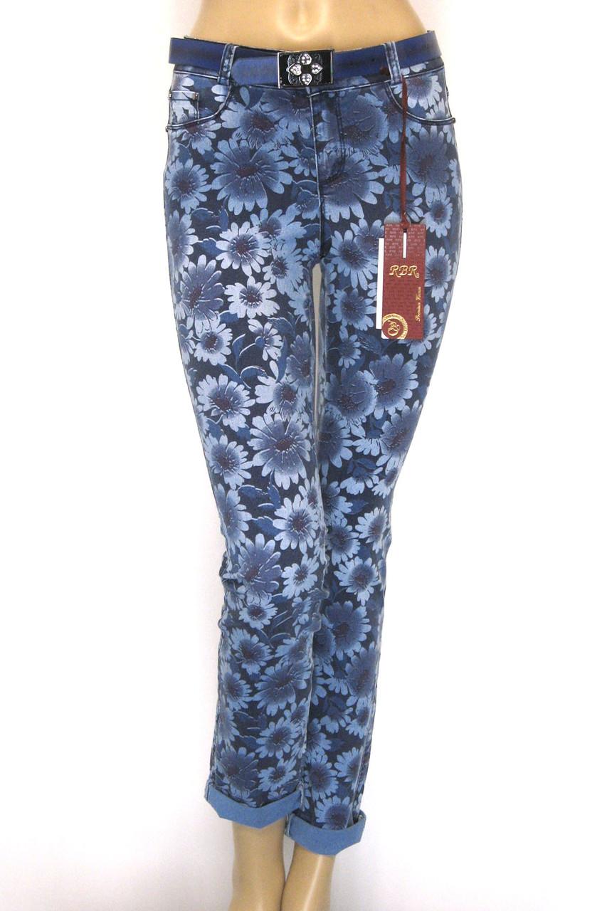 Жіночі джинси з квітковим принтом