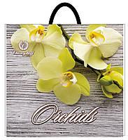 Сумка пластиковая ручка 380х340 полиэтиленовая Желтая орхидея