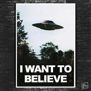 Постер X-Files, I want to believe, Секретные материалы, НЛО, UFO. Размер 60x42см (A2). Глянцевая бумага