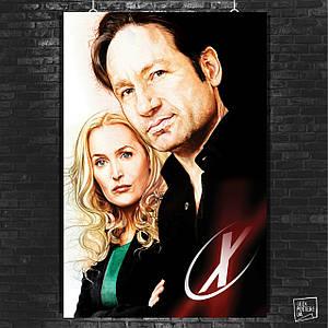 Постер X-Files, рисунок с Малдером и Скалли. Размер 60x42см (A2). Глянцевая бумага
