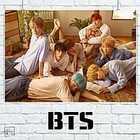 """Постер """"BTS на полу"""". Bangtan Boys, Beyond The Scene, k-pop. Размер 60x42см (A2). Глянцевая бумага"""