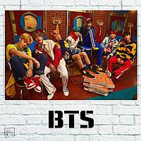 Постер Bangtan Boys и коробки с пиццей, BTS, Beyond The Scene, k-pop. Размер 60x40см (A2). Глянцевая бумага