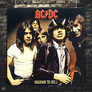 Постер AC/DC, обложка альбома Highway to hell. Размер 60x60см (A1). Глянцевая бумага