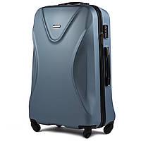 Большой пластиковый чемодан Wings 518 на 4 колесах синий, фото 1