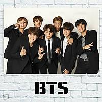 Постер Bangtan Boys, BTS, Beyond The Scene, k-pop, на белом фоне в чёрных костюмах. Размер 60x42см (A2). Глянцевая бумага