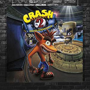Постер Crash Bandicoot 2 / Крэш Бандикут 2. Размер 60x60см (A1). Глянцевая бумага