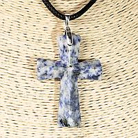 Содалит, серебро, крестик, 956КЛС