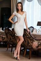 Белое вечернее платье из гипюра