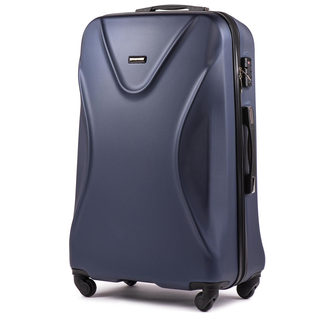 Средний пластиковый чемодан Wings 518 на 4 колесах синий