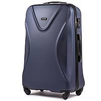Средний пластиковый чемодан Wings 518 на 4 колесах синий, фото 1