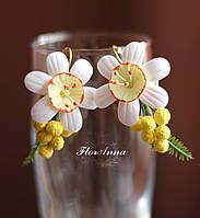 """""""Нарцисы с мимозой"""" авторские серьги ручной работы из полимерной глины, фото 1"""